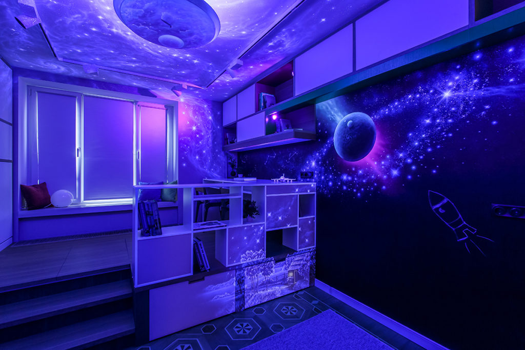 geolighting, ультрафиолет и коронавирус, влияние ультрафиолета, кварцевание, разрушение днк ультрафиолетом, роспись стен, флуорисценция, флуорисцентные краски