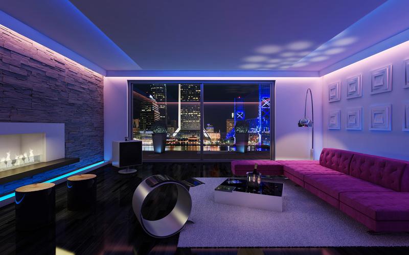 Неоновая подсветка потолка гостиной