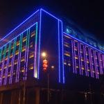 Неоновая подсветка здания
