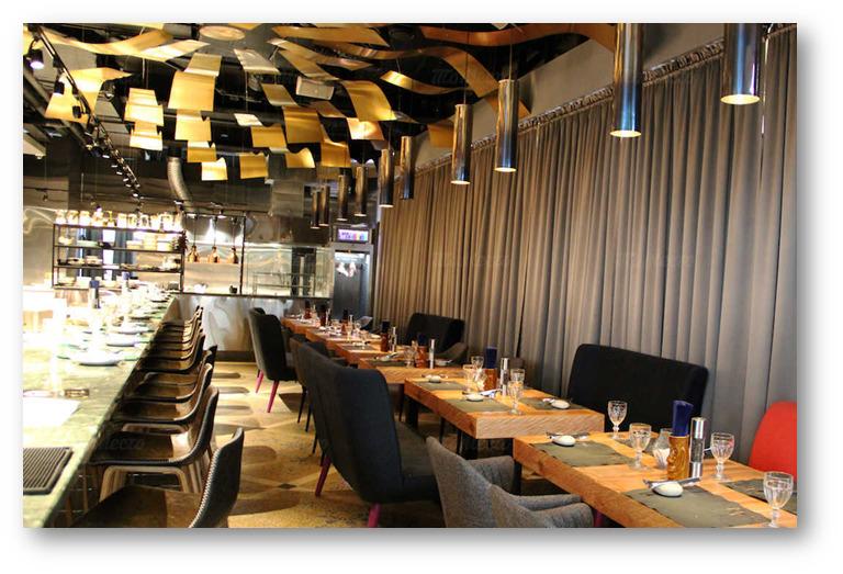 трековая подсветка в ресторане, треки подвесные в интерьере