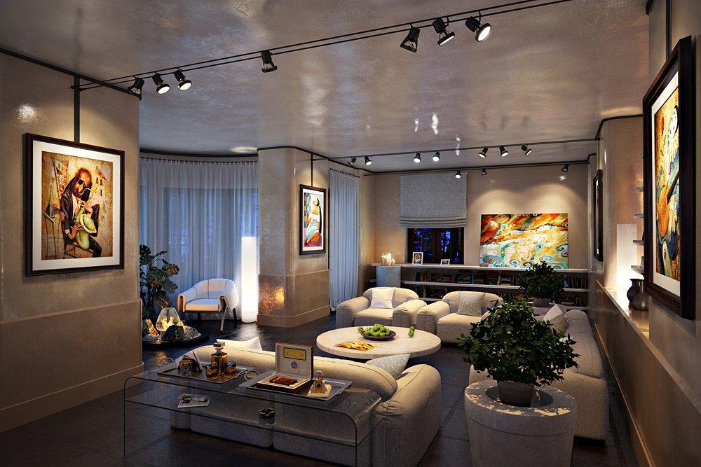 дизайн квартиры, освещение треками