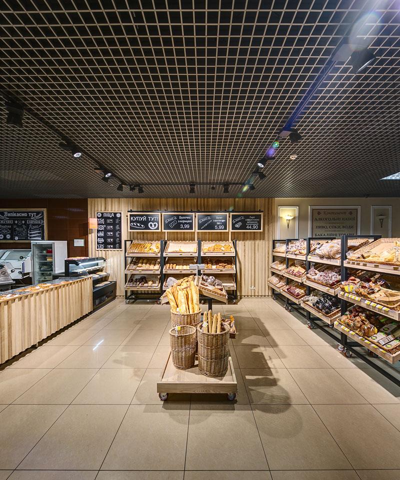 Магазин хлебный, хлебная лавка, трековое освещение